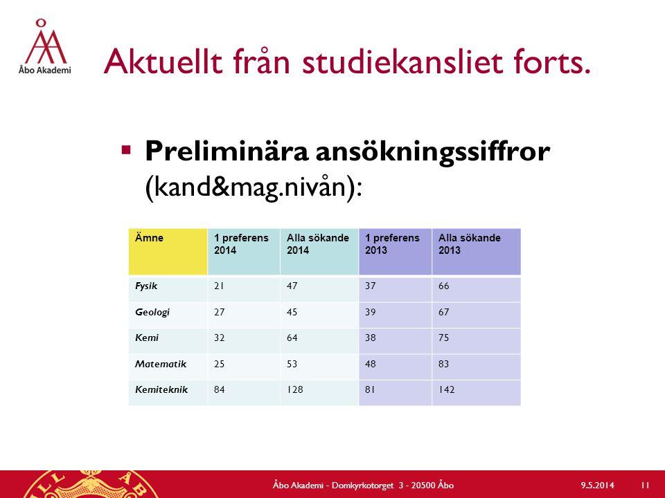 Aktuellt från studiekansliet forts.  Preliminära ansökningssiffror (kand&mag.nivån): 9.5.2014Åbo Akademi - Domkyrkotorget 3 - 20500 Åbo 11 Ämne1 pref