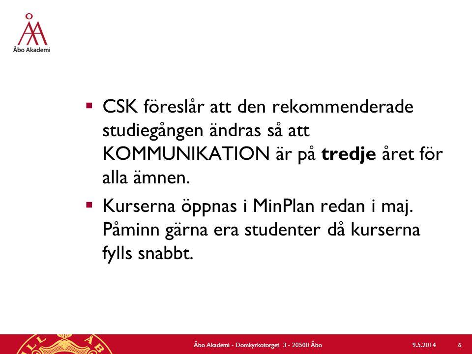 9.5.2014Åbo Akademi - Domkyrkotorget 3 - 20500 Åbo 6  CSK föreslår att den rekommenderade studiegången ändras så att KOMMUNIKATION är på tredje året