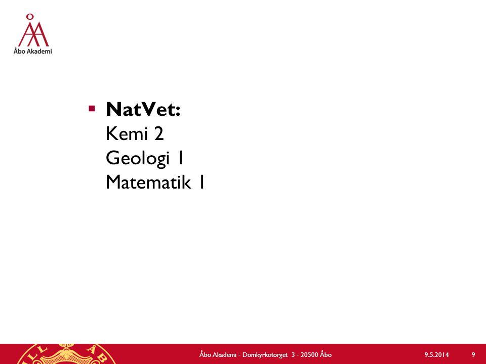  NatVet: Kemi 2 Geologi 1 Matematik 1 9.5.2014Åbo Akademi - Domkyrkotorget 3 - 20500 Åbo 9