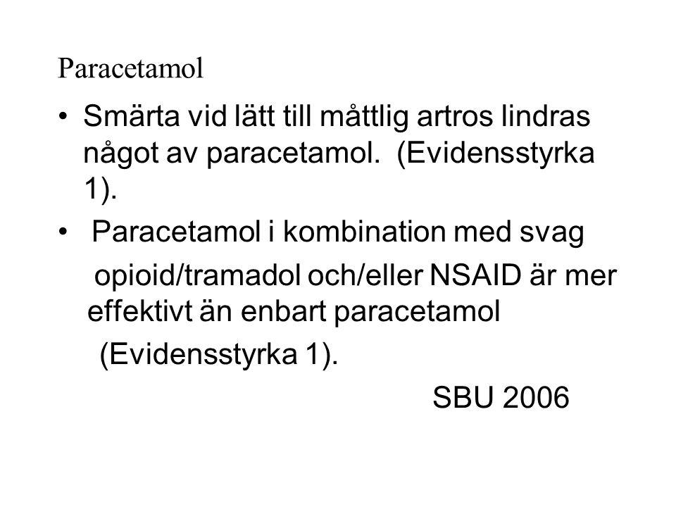 Paracetamol Smärta vid lätt till måttlig artros lindras något av paracetamol.