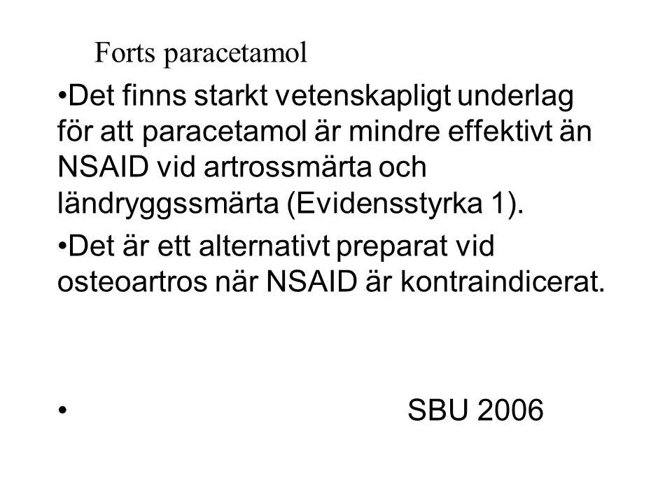 Forts paracetamol Det finns starkt vetenskapligt underlag för att paracetamol är mindre effektivt än NSAID vid artrossmärta och ländryggssmärta (Evidensstyrka 1).