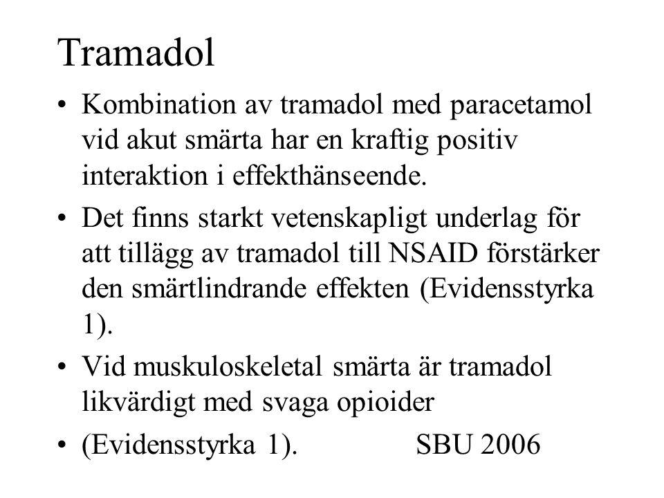 Tramadol Kombination av tramadol med paracetamol vid akut smärta har en kraftig positiv interaktion i effekthänseende.