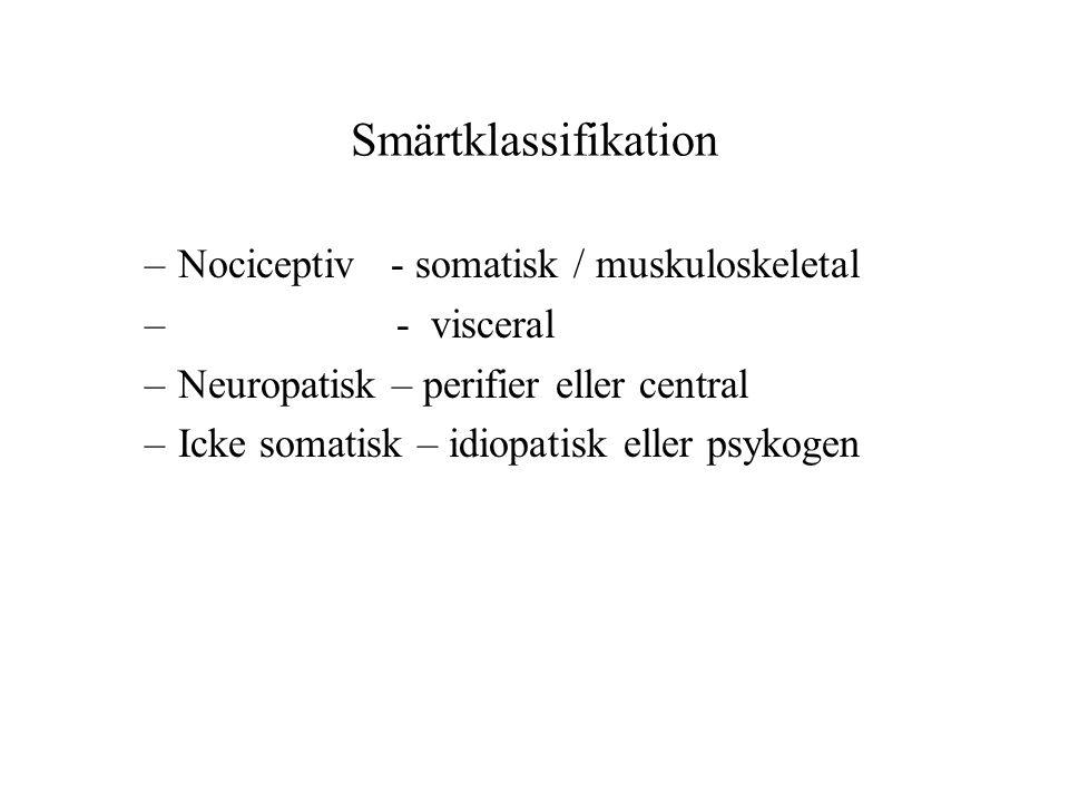 Smärtklassifikation –Nociceptiv - somatisk / muskuloskeletal – - visceral –Neuropatisk – perifier eller central –Icke somatisk – idiopatisk eller psykogen