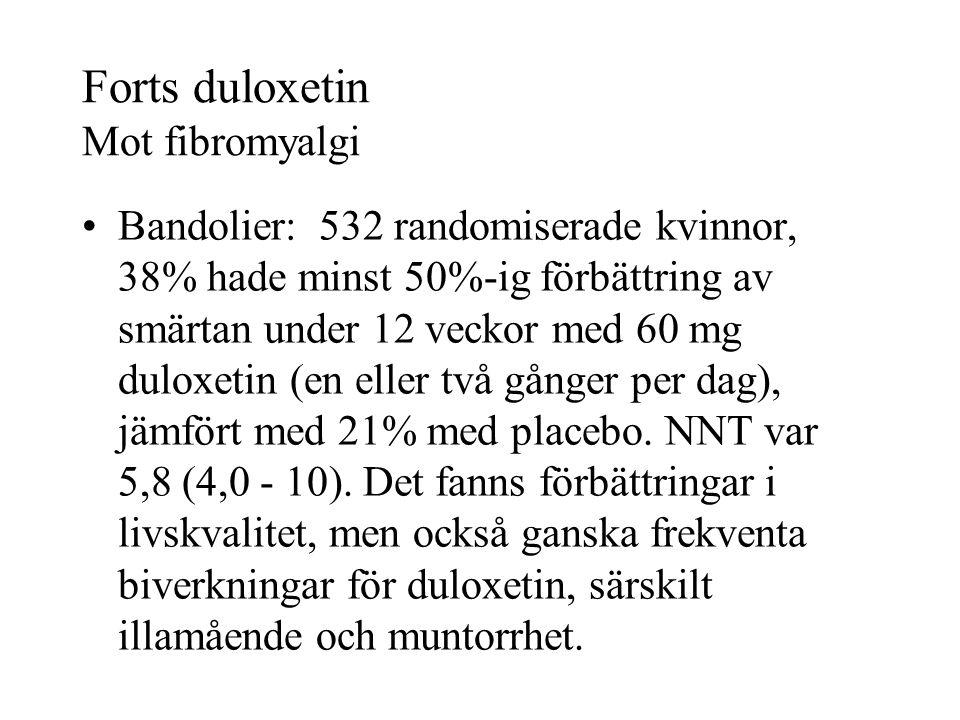 Forts duloxetin Mot fibromyalgi Bandolier: 532 randomiserade kvinnor, 38% hade minst 50%-ig förbättring av smärtan under 12 veckor med 60 mg duloxetin (en eller två gånger per dag), jämfört med 21% med placebo.