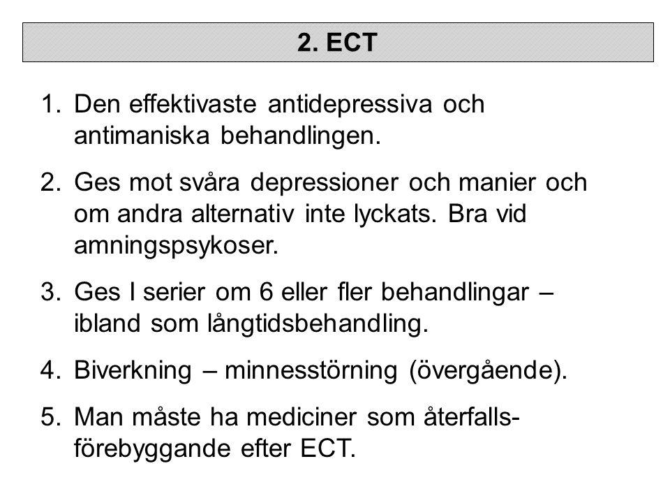 2.ECT 1.Den effektivaste antidepressiva och antimaniska behandlingen.