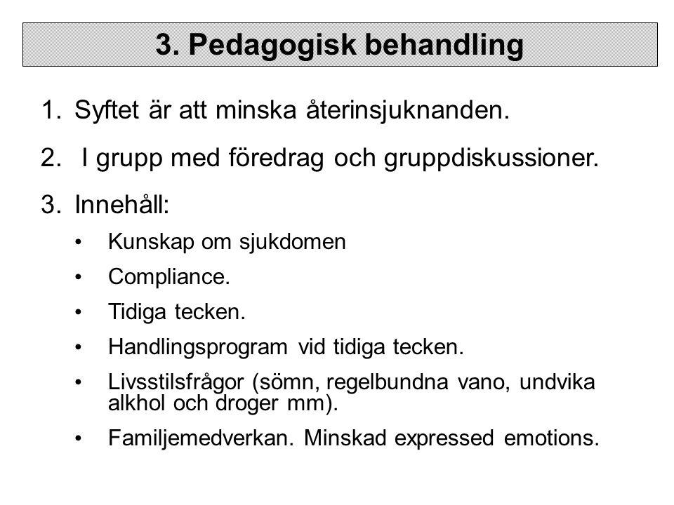 3.Pedagogisk behandling 1.Syftet är att minska återinsjuknanden.