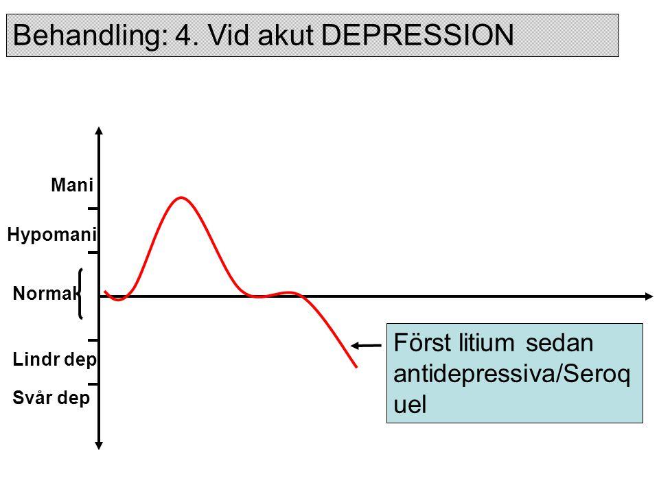 Normal Hypomani Mani Lindr dep Svår dep Först litium sedan antidepressiva/Seroq uel Behandling: 4.