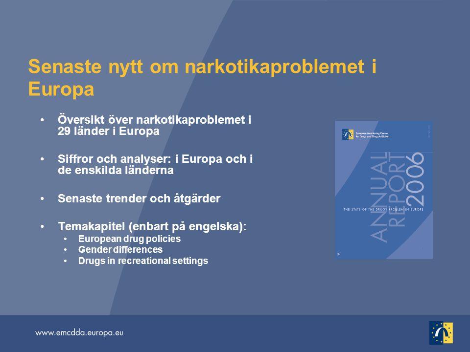Senaste nytt om narkotikaproblemet i Europa Översikt över narkotikaproblemet i 29 länder i Europa Siffror och analyser: i Europa och i de enskilda länderna Senaste trender och åtgärder Temakapitel (enbart på engelska): European drug policies Gender differences Drugs in recreational settings