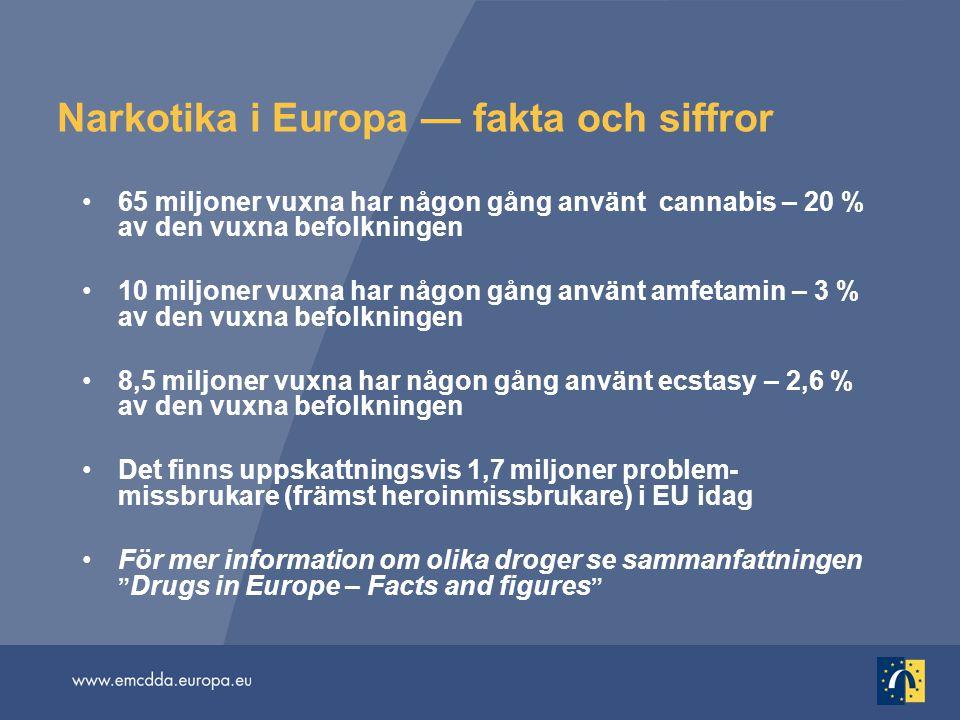 Narkotika i Europa — fakta och siffror 65 miljoner vuxna har någon gång använt cannabis – 20 % av den vuxna befolkningen 10 miljoner vuxna har någon gång använt amfetamin – 3 % av den vuxna befolkningen 8,5 miljoner vuxna har någon gång använt ecstasy – 2,6 % av den vuxna befolkningen Det finns uppskattningsvis 1,7 miljoner problem- missbrukare (främst heroinmissbrukare) i EU idag För mer information om olika droger se sammanfattningen Drugs in Europe – Facts and figures