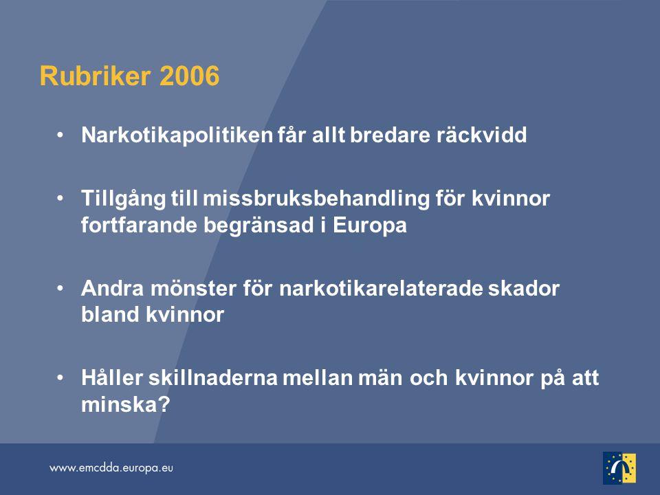 Rubriker 2006 Narkotikapolitiken får allt bredare räckvidd Tillgång till missbruksbehandling för kvinnor fortfarande begränsad i Europa Andra mönster för narkotikarelaterade skador bland kvinnor Håller skillnaderna mellan män och kvinnor på att minska?