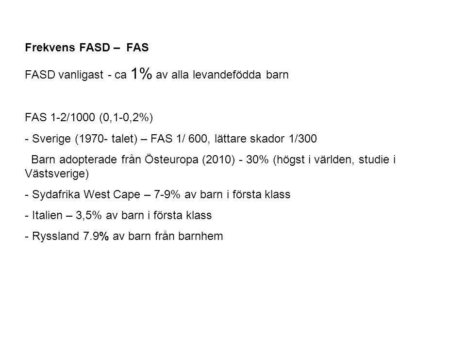 Frekvens FASD – FAS FASD vanligast - ca 1% av alla levandefödda barn FAS 1-2/1000 (0,1-0,2%) - Sverige (1970- talet) – FAS 1/ 600, lättare skador 1/30