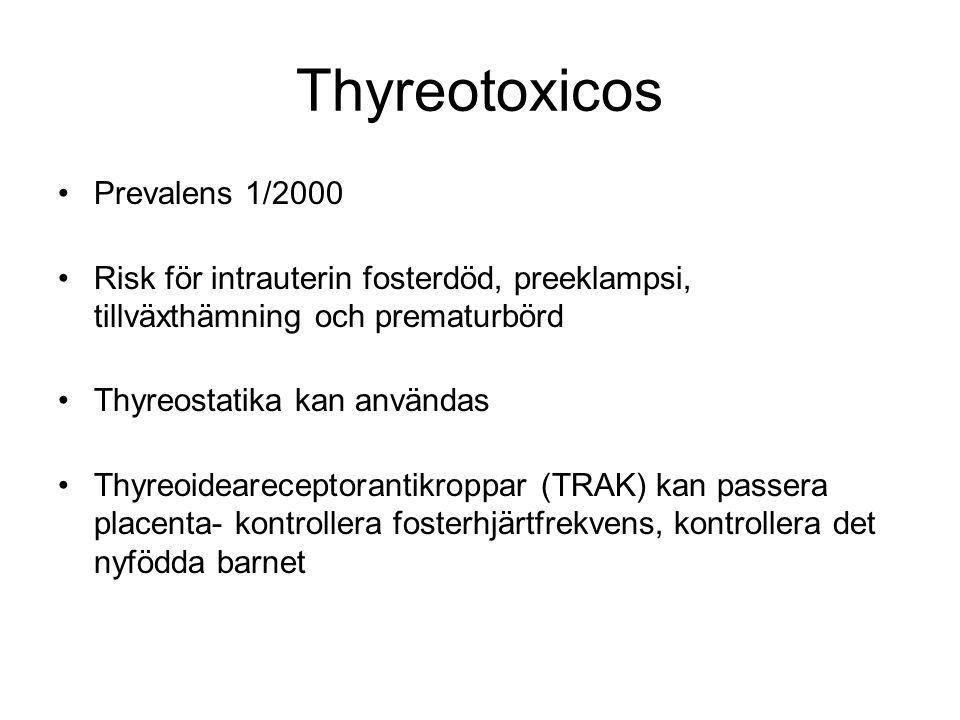 Thyreotoxicos Prevalens 1/2000 Risk för intrauterin fosterdöd, preeklampsi, tillväxthämning och prematurbörd Thyreostatika kan användas Thyreoidearece
