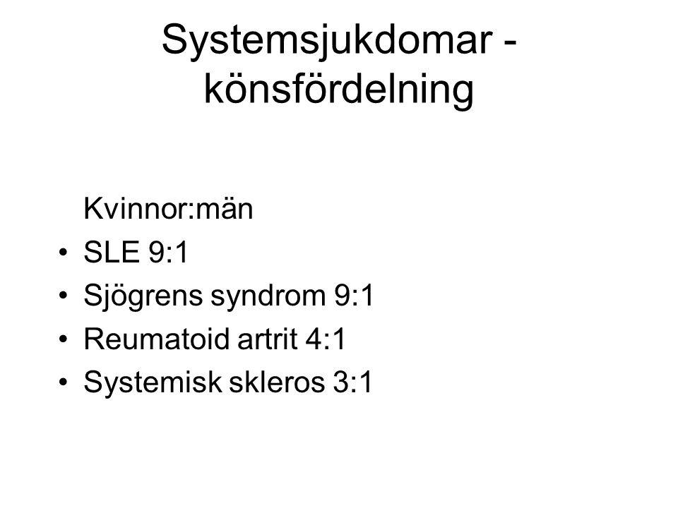Systemsjukdomar - könsfördelning Kvinnor:män SLE 9:1 Sjögrens syndrom 9:1 Reumatoid artrit 4:1 Systemisk skleros 3:1