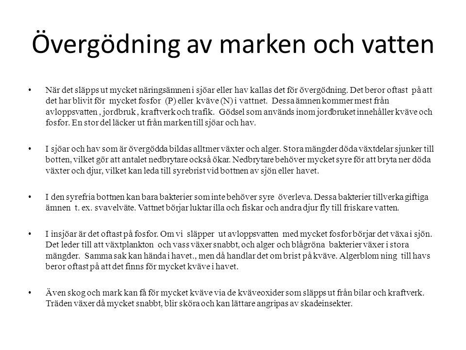 Övergödning av marken och vatten 2 I Sverige finns det reningsverk.