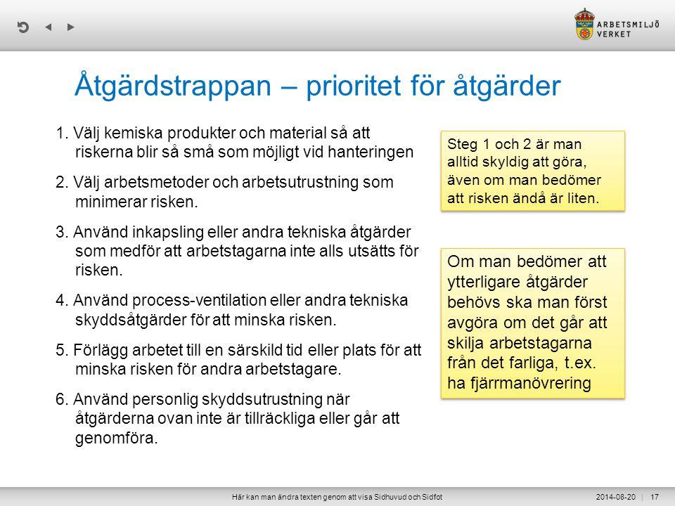 | Åtgärdstrappan – prioritet för åtgärder 1.
