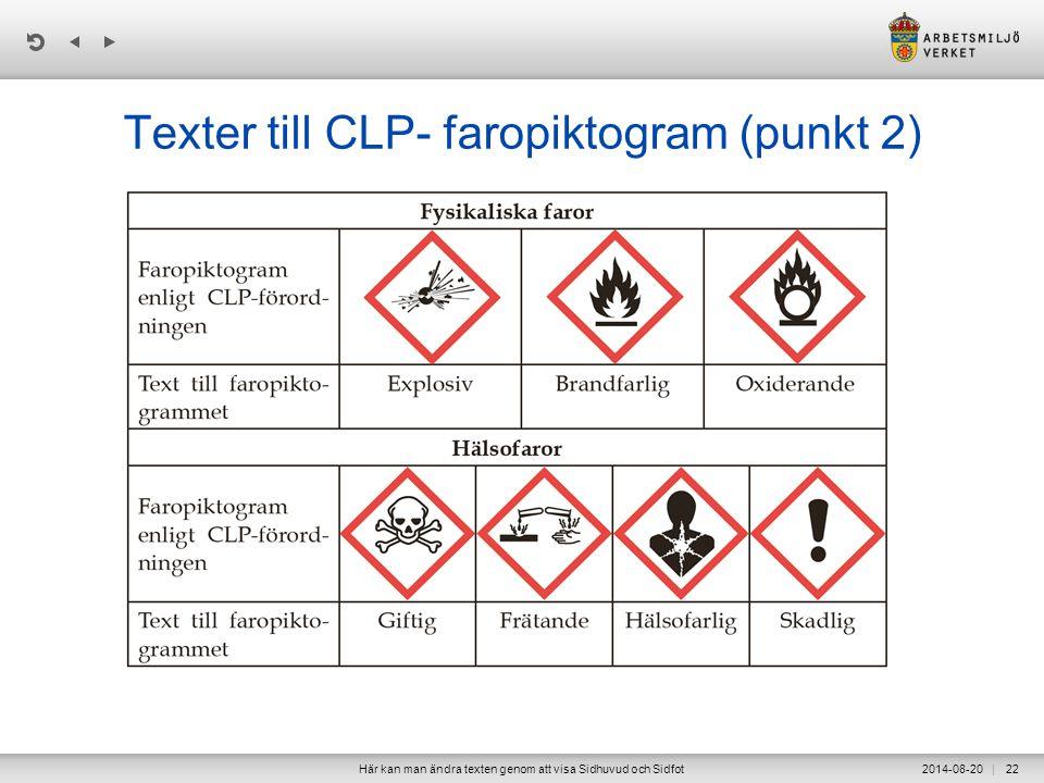 | Texter till CLP- faropiktogram (punkt 2) 2014-08-20Här kan man ändra texten genom att visa Sidhuvud och Sidfot22