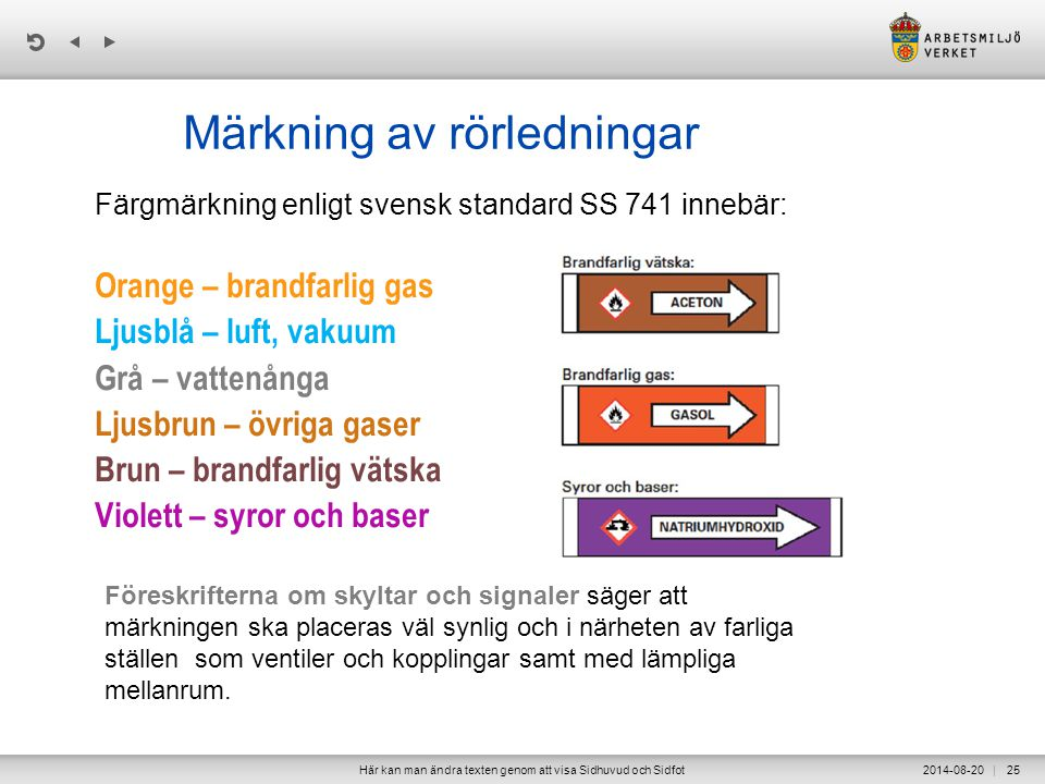 | Märkning av rörledningar Färgmärkning enligt svensk standard SS 741 innebär: Orange – brandfarlig gas Ljusblå – luft, vakuum Grå – vattenånga Ljusbrun – övriga gaser Brun – brandfarlig vätska Violett – syror och baser 2014-08-20Här kan man ändra texten genom att visa Sidhuvud och Sidfot25 Föreskrifterna om skyltar och signaler säger att märkningen ska placeras väl synlig och i närheten av farliga ställen som ventiler och kopplingar samt med lämpliga mellanrum.