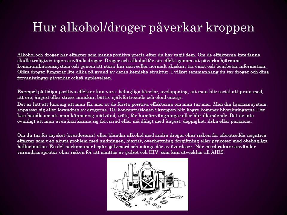 Hur alkohol/droger påverkar kroppen Alkohol och droger har effekter som känns positiva precis efter du har tagit dem. Om de effekterna inte fanns skul