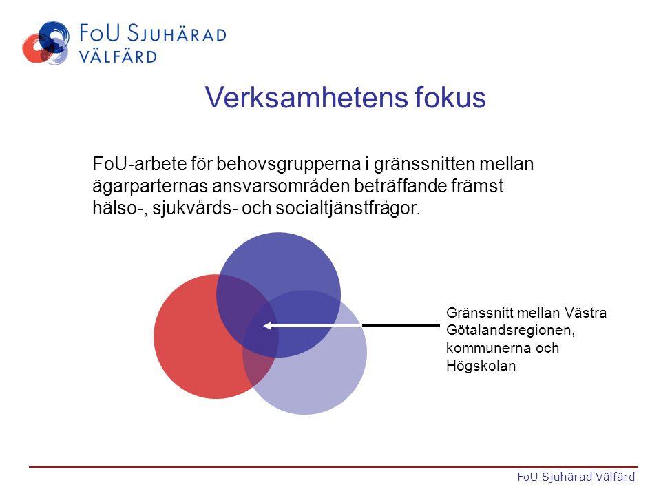 Verksamhetens fokus FoU-arbete för behovsgrupperna i gränssnitten mellan ägarparternas ansvarsområden beträffande främst hälso-, sjukvårds- och socialtjänstfrågor.