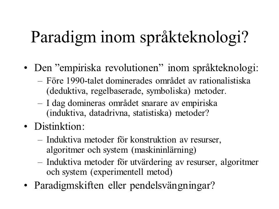 """Paradigm inom språkteknologi? Den """"empiriska revolutionen"""" inom språkteknologi: –Före 1990-talet dominerades området av rationalistiska (deduktiva, re"""