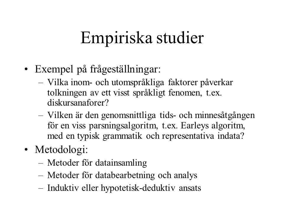 Empiriska studier Exempel på frågeställningar: –Vilka inom- och utomspråkliga faktorer påverkar tolkningen av ett visst språkligt fenomen, t.ex. disku
