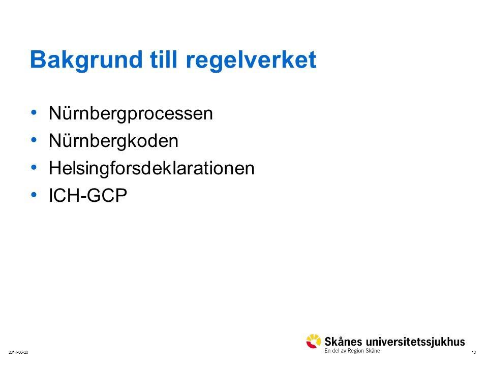 102014-08-20 Bakgrund till regelverket Nürnbergprocessen Nürnbergkoden Helsingforsdeklarationen ICH-GCP