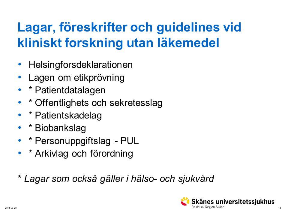 142014-08-20 Lagar, föreskrifter och guidelines vid kliniskt forskning utan läkemedel Helsingforsdeklarationen Lagen om etikprövning * Patientdatalage