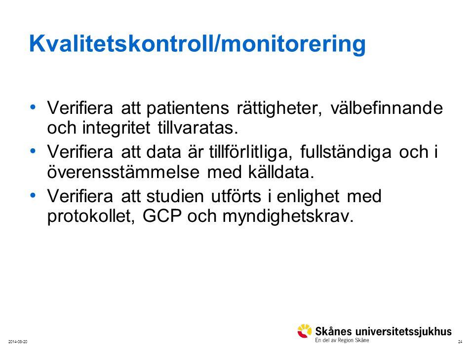 242014-08-20 Kvalitetskontroll/monitorering Verifiera att patientens rättigheter, välbefinnande och integritet tillvaratas. Verifiera att data är till