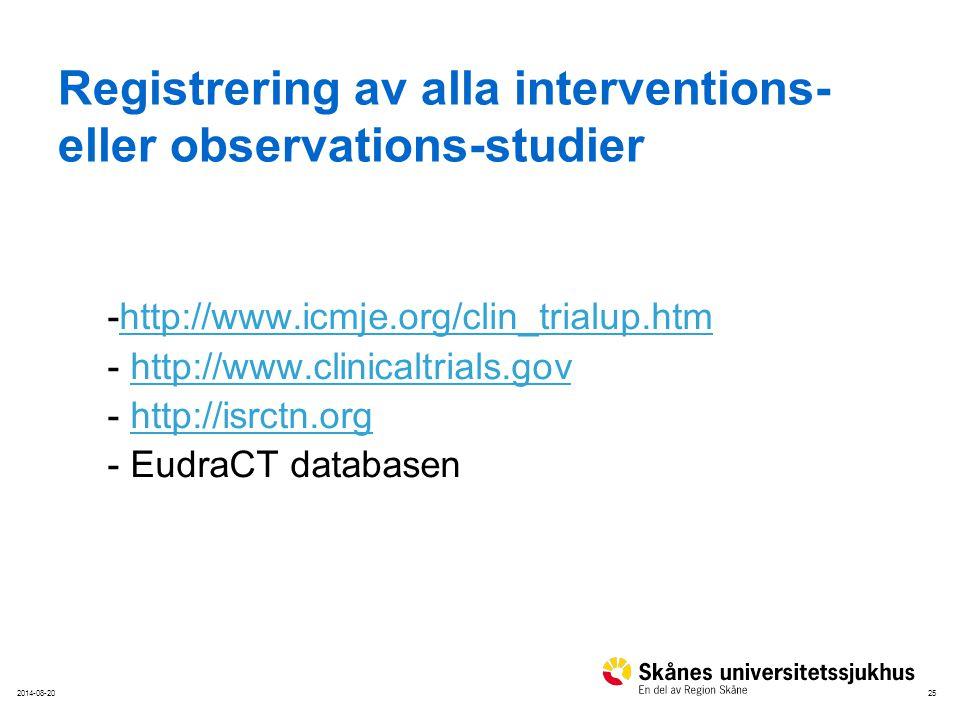 252014-08-20 Registrering av alla interventions- eller observations-studier -http://www.icmje.org/clin_trialup.htmhttp://www.icmje.org/clin_trialup.ht