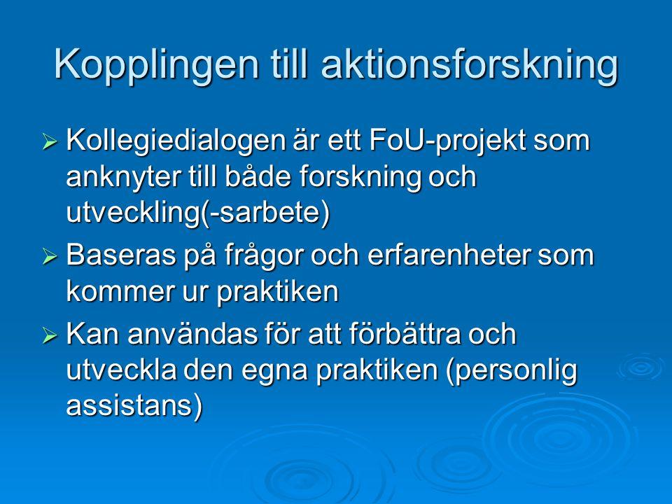 Kopplingen till aktionsforskning  Kollegiedialogen är ett FoU-projekt som anknyter till både forskning och utveckling(-sarbete)  Baseras på frågor och erfarenheter som kommer ur praktiken  Kan användas för att förbättra och utveckla den egna praktiken (personlig assistans)