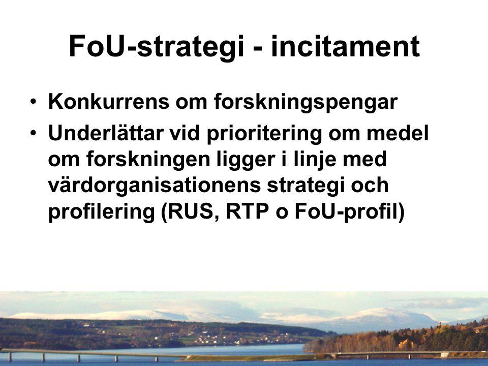FoU-strategi - incitament Konkurrens om forskningspengar Underlättar vid prioritering om medel om forskningen ligger i linje med värdorganisationens strategi och profilering (RUS, RTP o FoU-profil)