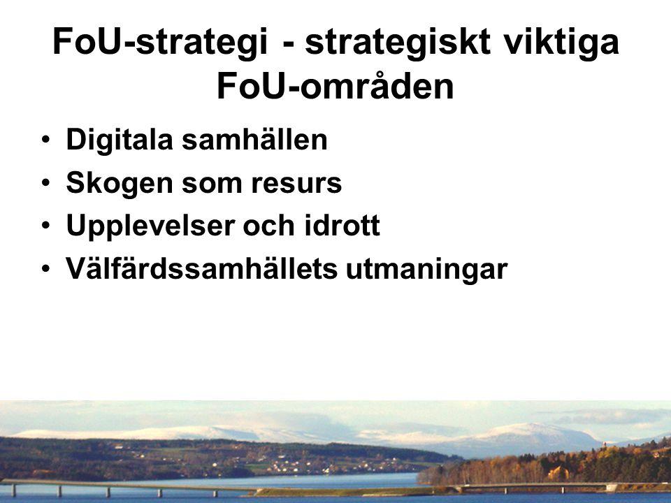 FoU-strategi - strategiskt viktiga FoU-områden Digitala samhällen Skogen som resurs Upplevelser och idrott Välfärdssamhällets utmaningar