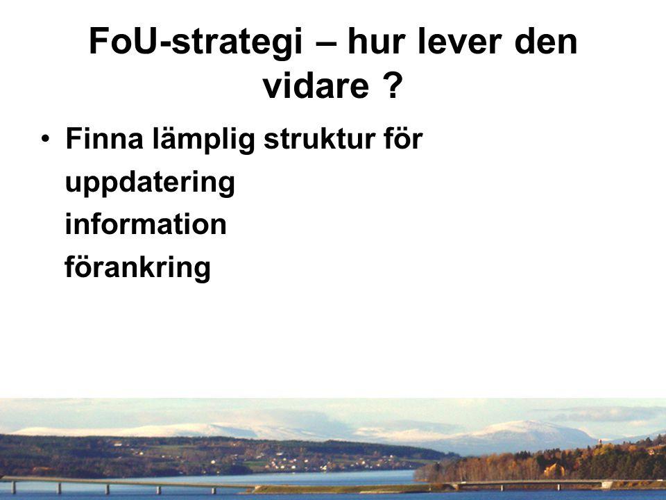FoU-strategi – hur lever den vidare Finna lämplig struktur för uppdatering information förankring