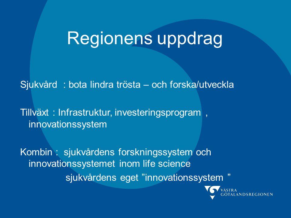 Regionens uppdrag Sjukvård : bota lindra trösta – och forska/utveckla Tillväxt : Infrastruktur, investeringsprogram, innovationssystem Kombin : sjukvårdens forskningssystem och innovationssystemet inom life science sjukvårdens eget innovationssystem