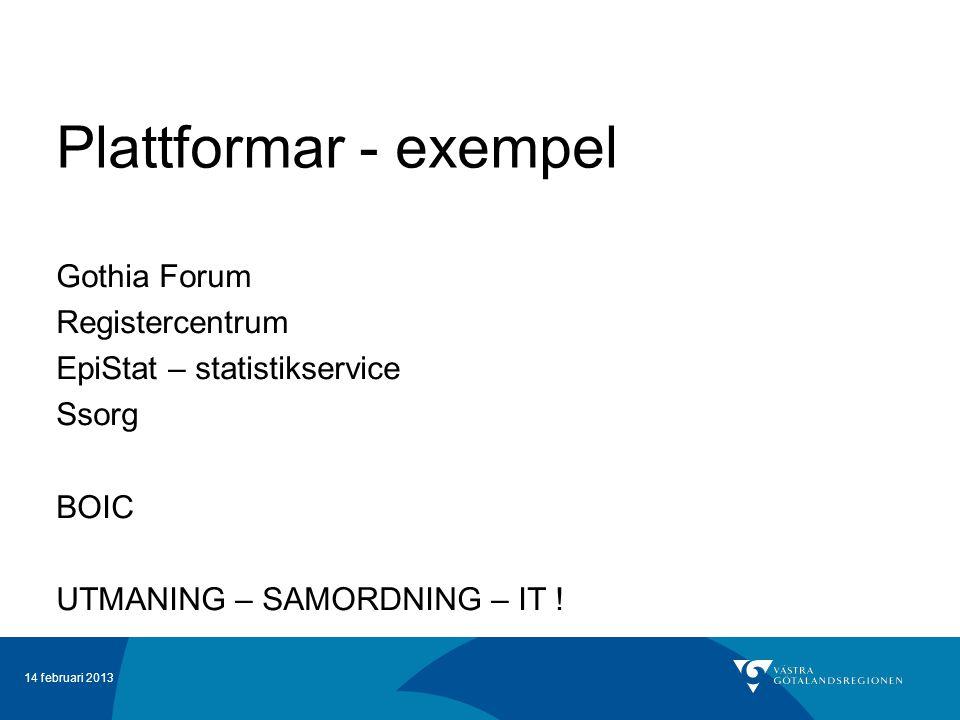 14 februari 2013 Plattformar - exempel Gothia Forum Registercentrum EpiStat – statistikservice Ssorg BOIC UTMANING – SAMORDNING – IT !