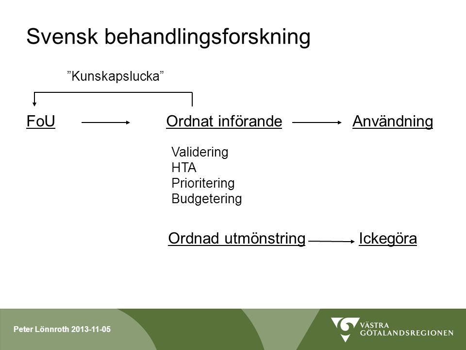 Peter Lönnroth 2013-11-05 Svensk behandlingsforskning FoUOrdnat införandeAnvändning Validering HTA Prioritering Budgetering Ordnad utmönstring Ickegör