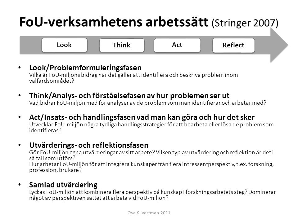 FoU-verksamhetens arbetssätt (Stringer 2007) Look/Problemformuleringsfasen Vilka är FoU-miljöns bidrag när det gäller att identifiera och beskriva pro