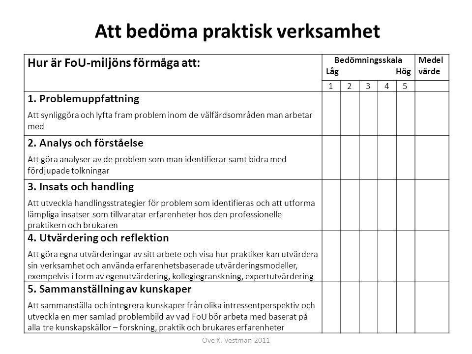 Att bedöma organisation Hur är FoU-miljöns förmåga: Bedömningsskala Låg Hög Medel- värde 12345 1.