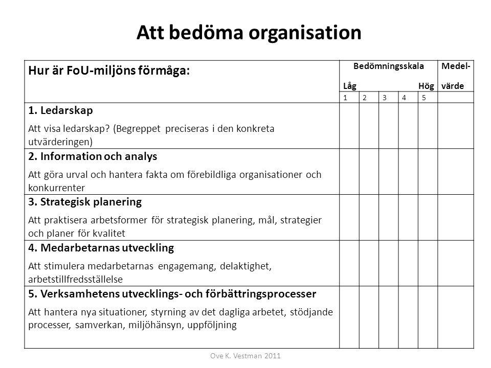 Att bedöma organisation Hur är FoU-miljöns förmåga: Bedömningsskala Låg Hög Medel- värde 12345 1. Ledarskap Att visa ledarskap? (Begreppet preciseras