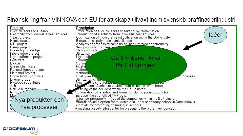 FoU-rådet Finansiering från VINNOVA och EU för att skapa tillväxt inom svensk bioraffinaderiindustri Projects Description Succinic acid and Butanol Pr