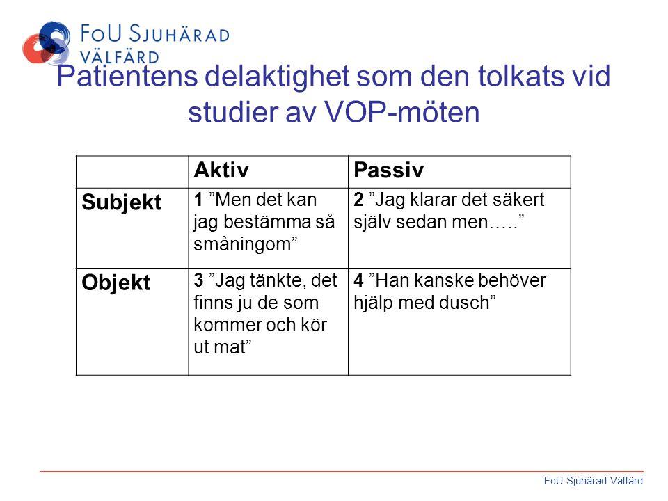 """FoU Sjuhärad Välfärd Patientens delaktighet som den tolkats vid studier av VOP-möten AktivPassiv Subjekt 1 """"Men det kan jag bestämma så småningom"""" 2 """""""