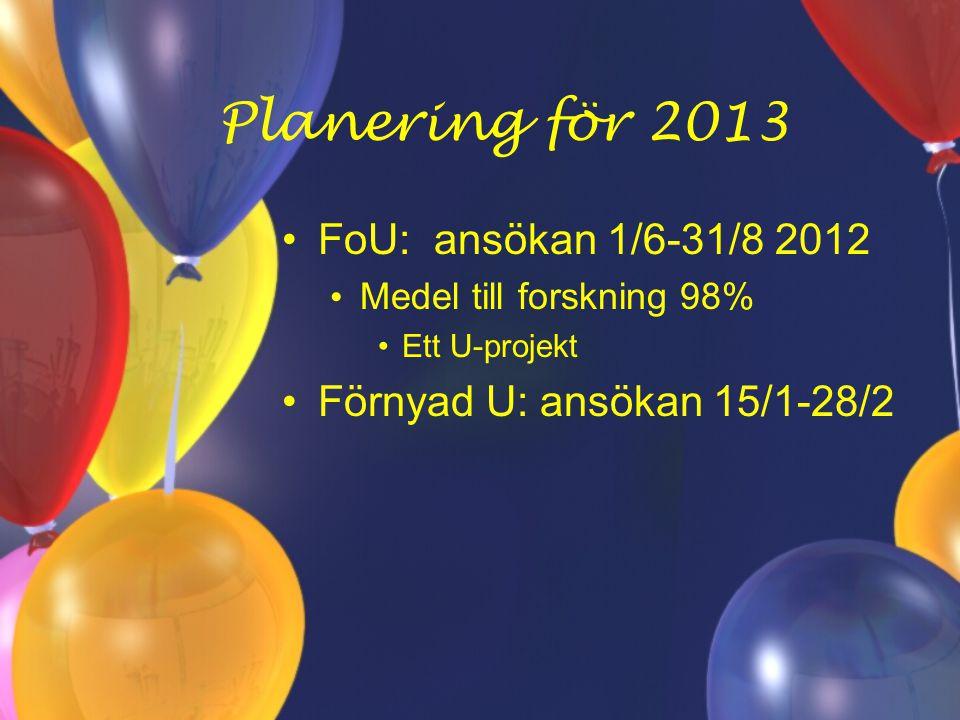 Planering för 2013 FoU: ansökan 1/6-31/8 2012 Medel till forskning 98% Ett U-projekt Förnyad U: ansökan 15/1-28/2