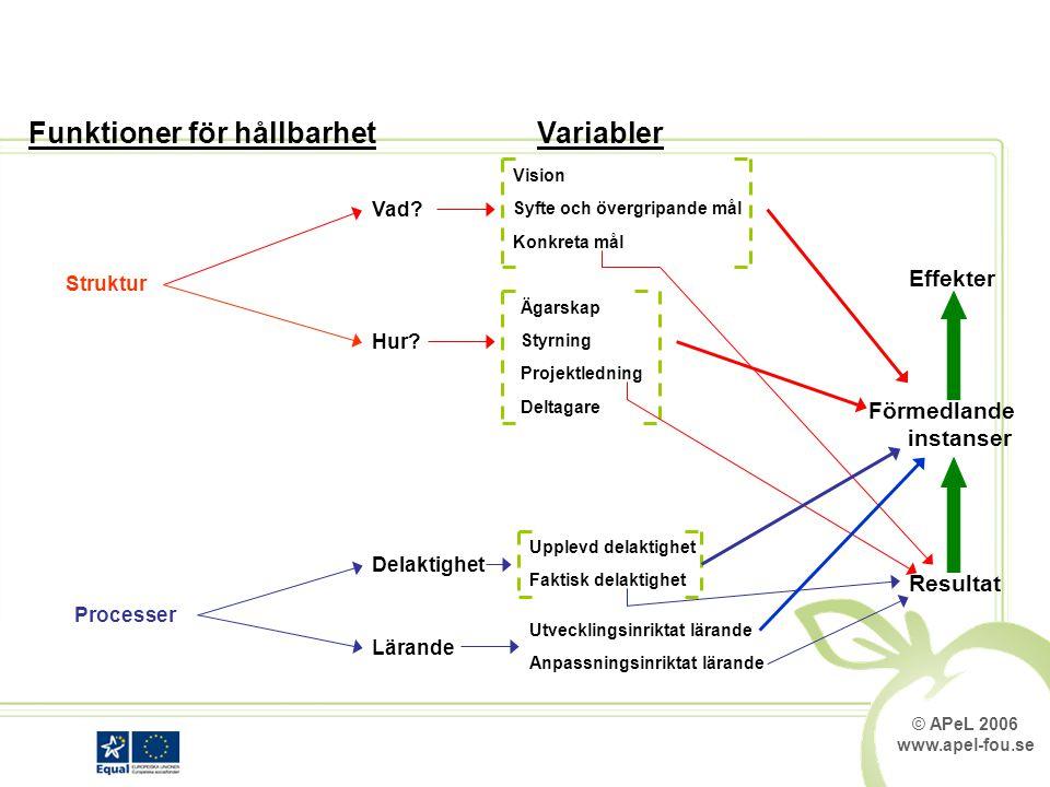 © APeL 2006 www.apel-fou.se Funktioner för hållbarhet Struktur Processer Vad.