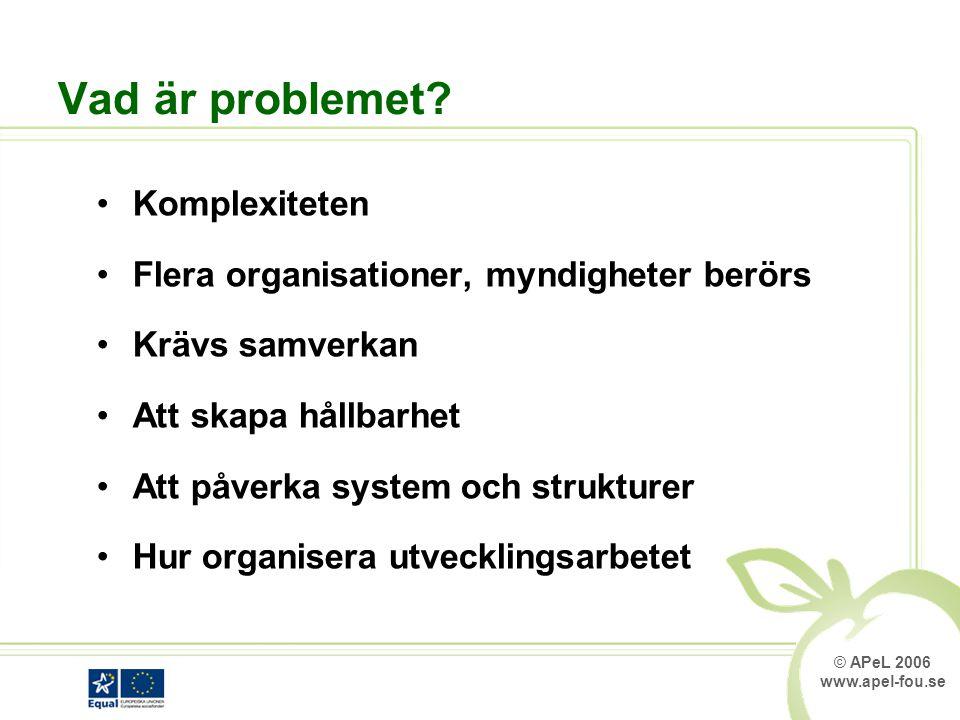 © APeL 2006 www.apel-fou.se Vad är problemet.