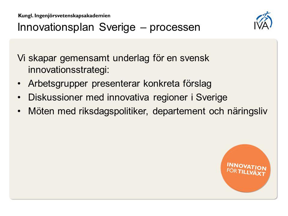 Innovationsplan Sverige – processen Vi skapar gemensamt underlag för en svensk innovationsstrategi: Arbetsgrupper presenterar konkreta förslag Diskuss