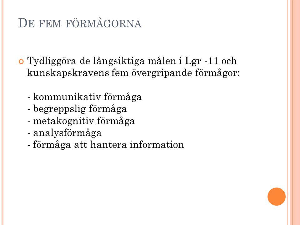 D E FEM FÖRMÅGORNA Tydliggöra de långsiktiga målen i Lgr -11 och kunskapskravens fem övergripande förmågor: - kommunikativ förmåga - begreppslig förmå