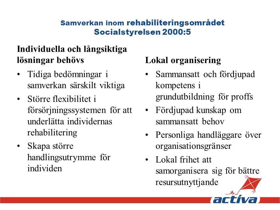 Samverkan inom rehabiliteringsområdet Socialstyrelsen 2000:5 Individuella och långsiktiga lösningar behövs Tidiga bedömningar i samverkan särskilt vik
