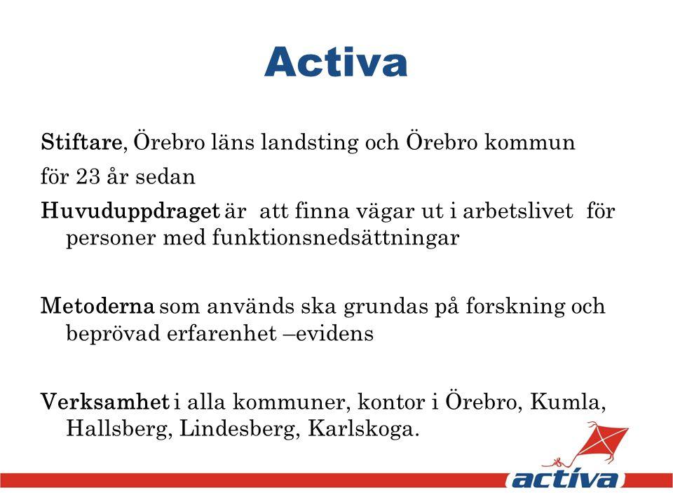 Stiftare, Örebro läns landsting och Örebro kommun för 23 år sedan Huvuduppdraget är att finna vägar ut i arbetslivet för personer med funktionsnedsätt