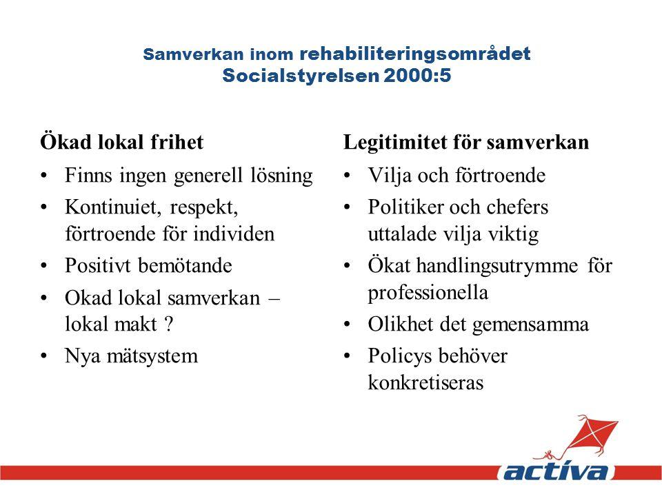 Samverkan inom rehabiliteringsområdet Socialstyrelsen 2000:5 Ökad lokal frihet Finns ingen generell lösning Kontinuiet, respekt, förtroende för indivi