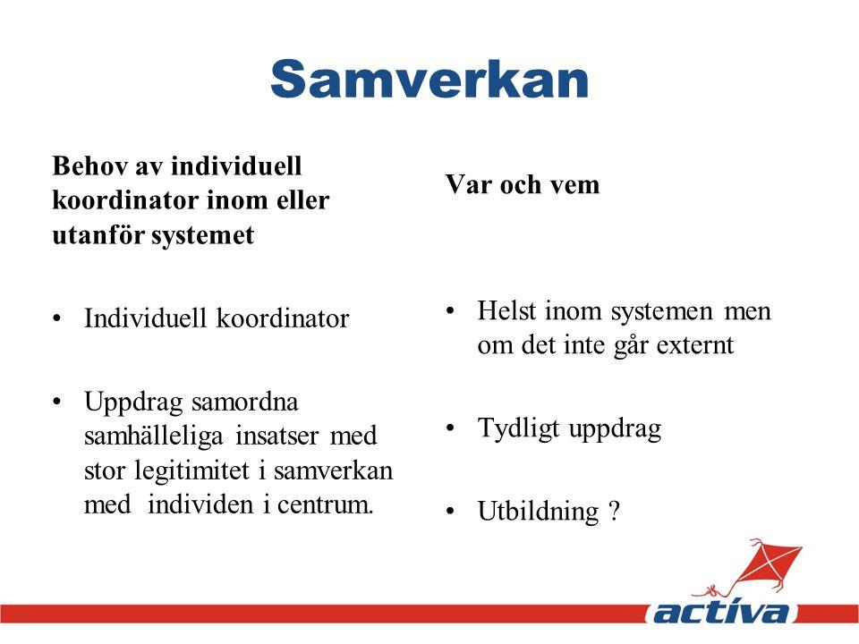 Samverkan Behov av individuell koordinator inom eller utanför systemet Individuell koordinator Uppdrag samordna samhälleliga insatser med stor legitim